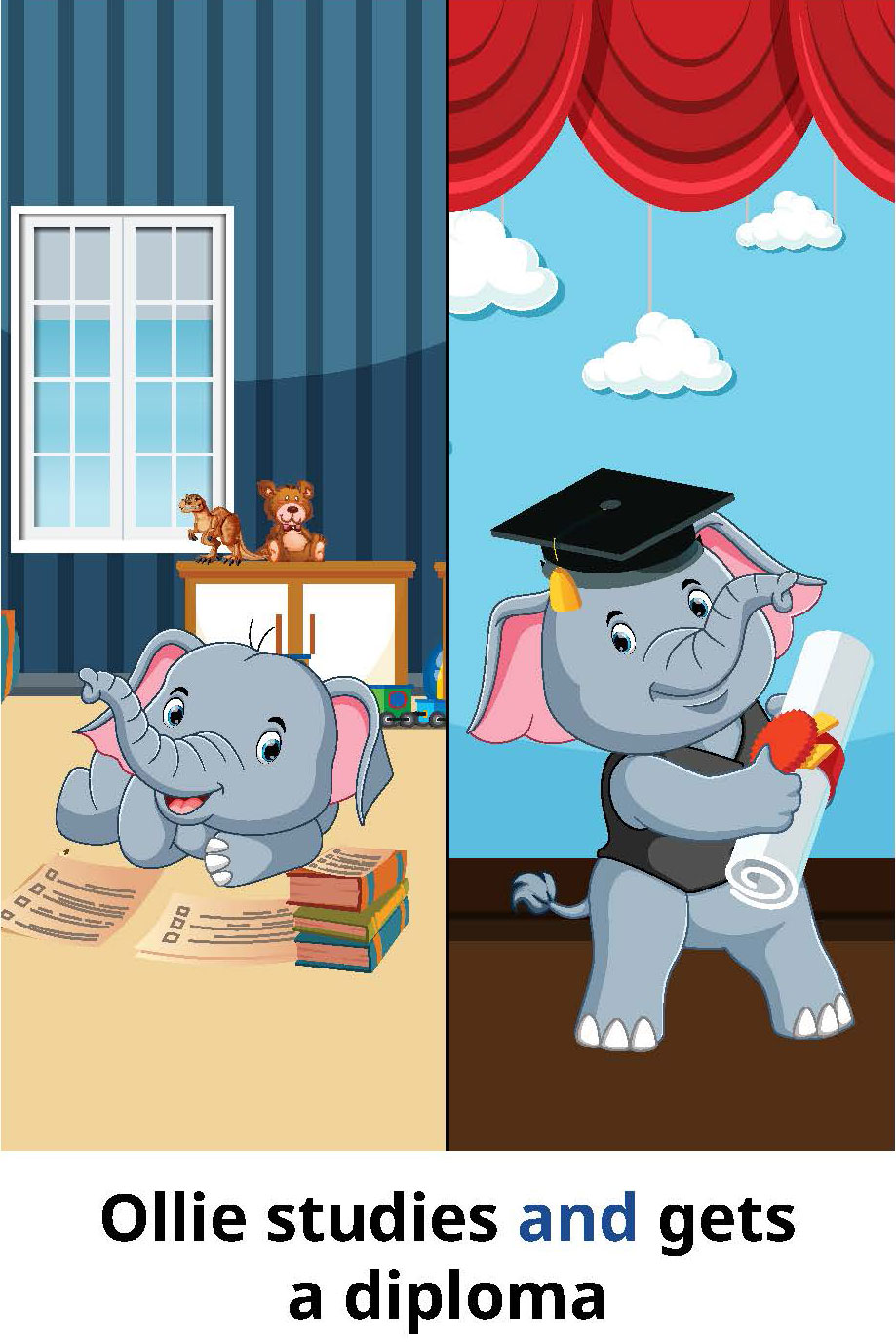 Ollie studies and gets a diploma
