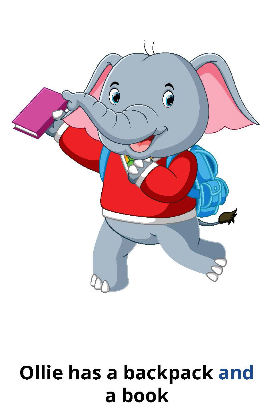 Ollie has a backpack and a book